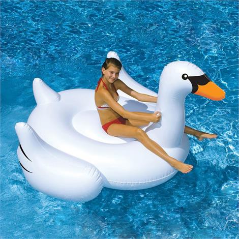 Swimline Giant Inflatable Ride-On Swan,75 Long x 65 Wide x 44 Tall,Each,90621