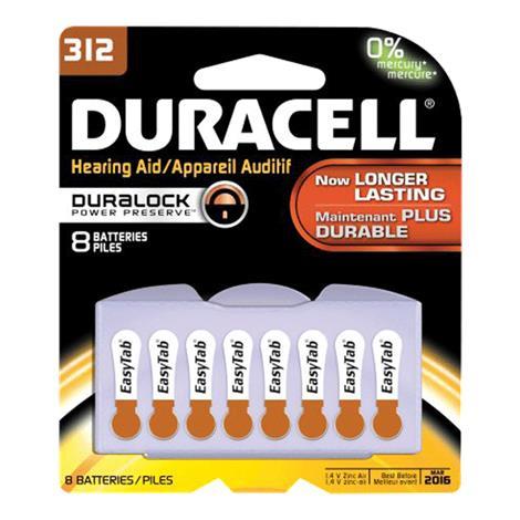 Duracell EasyTab Hearing Aid Battery,1.4V,Size 312,8/Pack,TUBSTDFLT