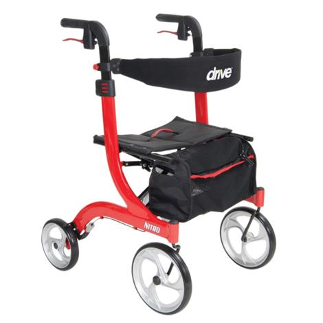 Drive Nitro Euro-Style Aluminum Four Wheel Rollator,Red,Each,RTL10266