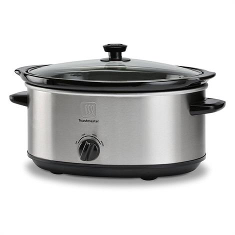 Toastmaster Oval Stainless Steel Slow Cooker,7 Quart Capacity Grey,Each,TM-701SC