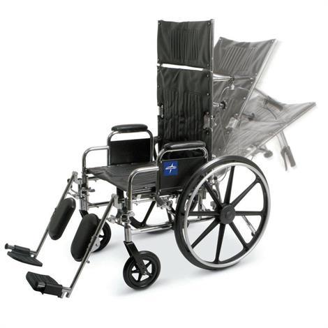 "Medline Excel Reclining Wheelchair,Seat 16""W x 17""D,Wt Capacity: 300lb,Each,MDS808350"