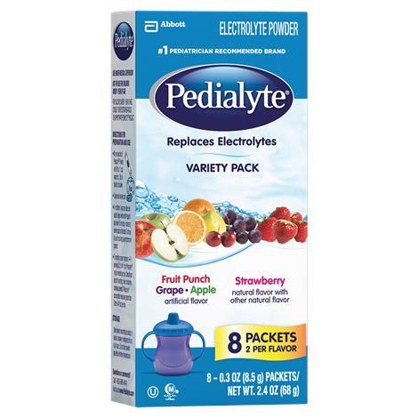 Abbott Pedialyte Oral Electrolyte Powder,Mix Powder (2 each Fr Punch,Grape,Apple,Strawberry),0.3-oz (8.5g),packet,64/Pack,56090