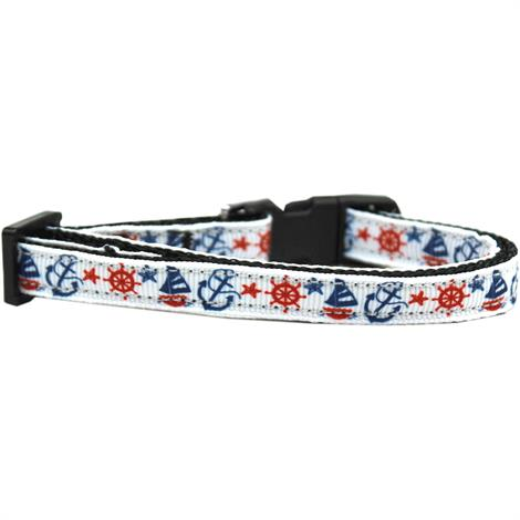 """Mirage Anchors Away Nylon Ribbon Cat Safety Collar,Neck 6""""-10"""" And Width 3/8"""",Each,125-111 CT"""