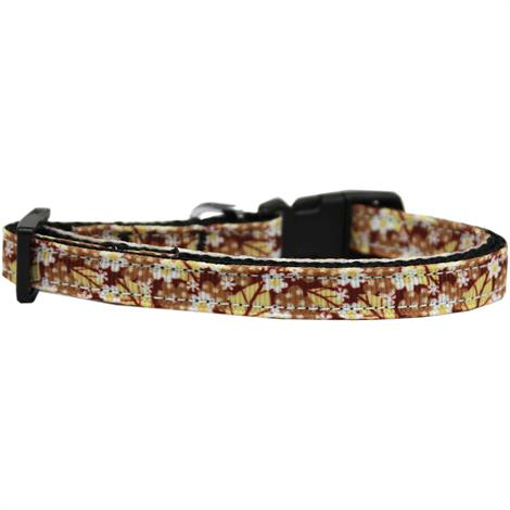 """Mirage Autumn Leaves Nylon Ribbon Cat Safety Collar,Neck 6""""-10"""" and Width 3/8"""",Each,125-058 CT"""