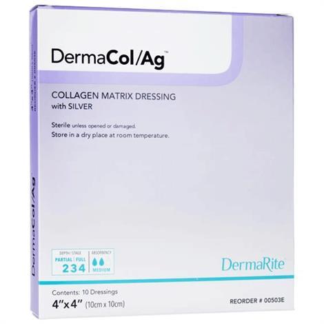 "DermaRite DermaCol/Ag Collagen Matrix Dressing with Silver,2"" x 2"",10/Pack,00502E"
