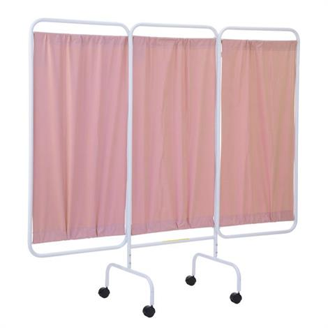 """R&B Mobile Three Panel Privacy Screen With Casters,81""""W x 69""""H,Cream,Each,PSS-3C/AML"""