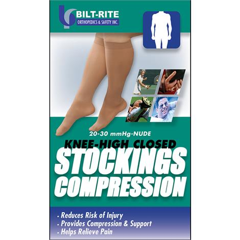 Bilt-Rite Closed Toe Knee High 20-30 mmHg Stockings,Black,Large,Each,10-71700-LG