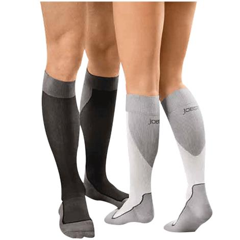 BSN Jobst 15-20 mmHg Closed Toe Knee High Sports Socks,White/Grey,Large,Pair,7528902