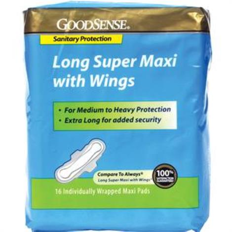 GoodSense Long Super Maxi Pad with Wings,Medium to Heavy Protection,16/Pack,HS00047