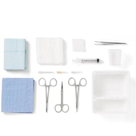 Medline Laceration Trays with Comfort Loop Instruments,Laceration Tray,16/Pack,DYNJ03000