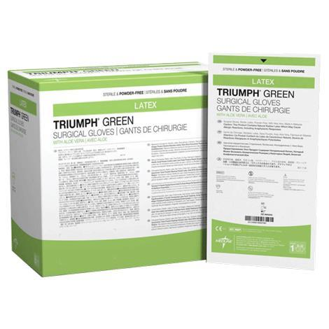 Medline Triumph Green With Aloe Vera Surgical Gloves, Size 8,Size: 8,200 Pair/Case,MSG2580