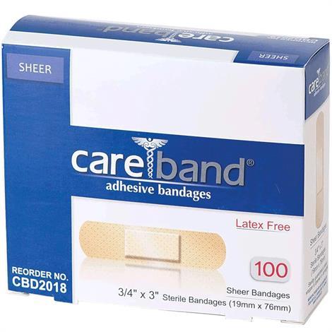"ASO Careband Sheer Adhesive Bandages,0.75"" x 3,100/Pack,CBD2018-012"