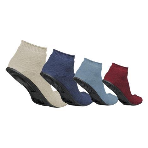 Medline Sure Grip Terrycloth Slippers,Large,Navy,12Pair/Pack,MDT211220L