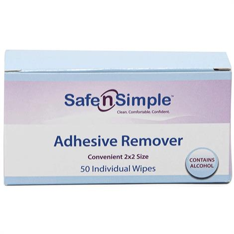 """Safe N SimpleBased Adhesive Remover Wipes,2"""" x 2"""",50/Pack,SNS00650"""