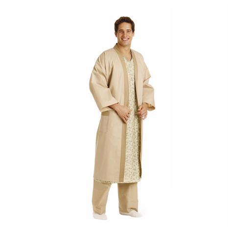 Medline Kimono Style Patient Robes,Solid Tan,Regular,12/Pack,MDTHR5R04TAN