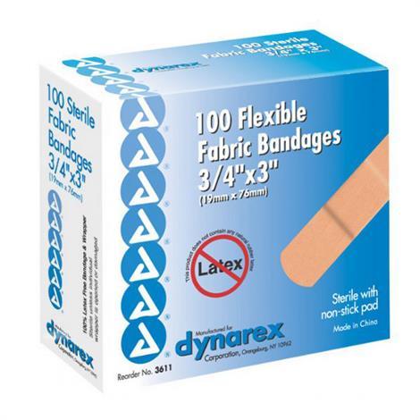 "Dynarex Flexible Fabric Adhesive Bandages,1"" x 3"",100/Pack,3612"