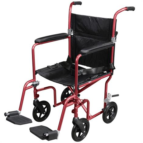 Drive Deluxe Fly-Weight Aluminum Transport Chair With Removable Casters,Red Frame and Black Upholstery,Each,RTLFW19RW-RD