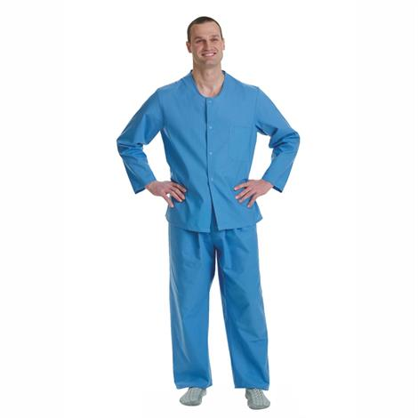 Medline Psychiatric Patient Snap Pajama Tops,Solid Blue,X-Large,Each,MDTTP4S05BLU MIMDTTP4S05BLU