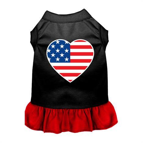 Mirage American Flag Heart Screen Print Dog Dress,0,Each,58-40