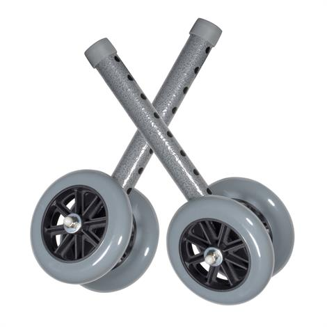 Drive Five Inch Bariatric Walker Wheels With Two Sets Of Rear Glides,Silver Vein with Grey Wheels,Pair,10118SV