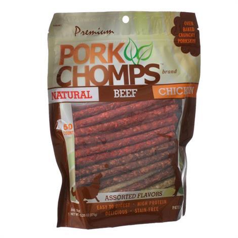 Premium Pork Chomps Assorted Munchy Sticks,50 Pack - (Natural Beef & Chicken Flavors),Each,Dt809