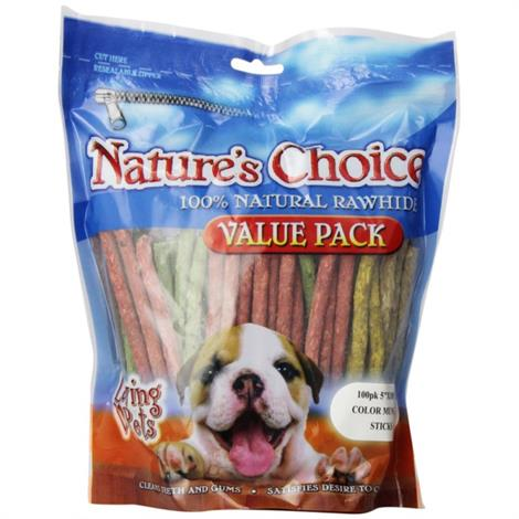 """LovingNatures Choice Rawhide Munchy Stick Value Pack,100 Pack (5"""" Assorted Munchy Sticks),100/Pack,4965 - from $6.07"""