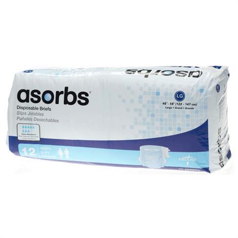 Medline Asorbs Ultra Soft Plus Incontinence Briefs,XX-Large,Fits Waist 60 - 69,12/Pack,4Pk/Case,MTB60700