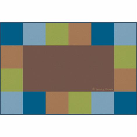 "Childrens Factory Grid Border Rugs,Brown,Rectangle,Small,108"" x 72"",Each,CPR3048"