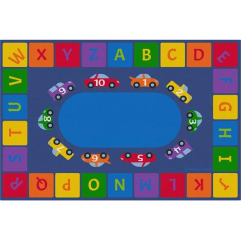 Alphabet Cars Educational Rugs,Woodtones - Rectangle Small,Each,Cpr3043