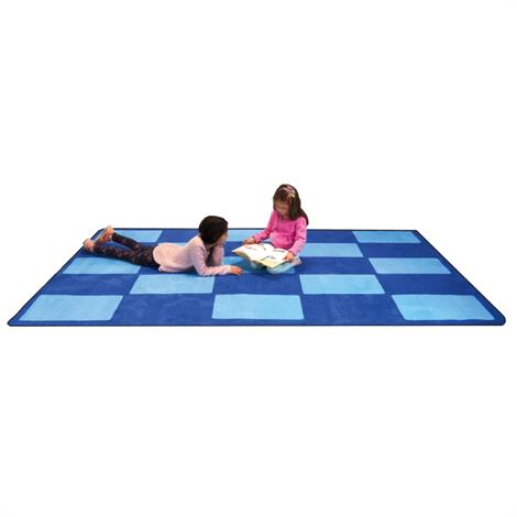 "Childrens Factory Checker Blue Rugs,Large,144"" x 96"",Each,CPR3006"