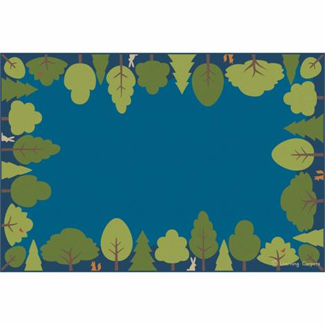 "Childrens Factory Friendly Forest Rugs,Blue,108"" x 72"",Each,CPR3046"