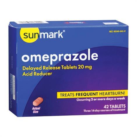 Mckesson sunmark Omeprazole Tablets,Omeprazole Tablets,42/Box,49348084661