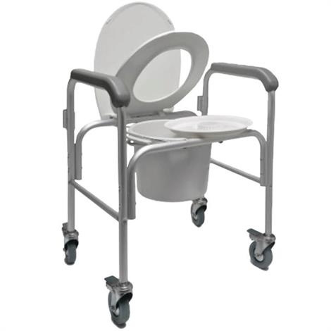 Graham-Field Three-in-one Aluminium Commode With Backbar and Casters,Aluminium Commode,2/Pack,2215B-2