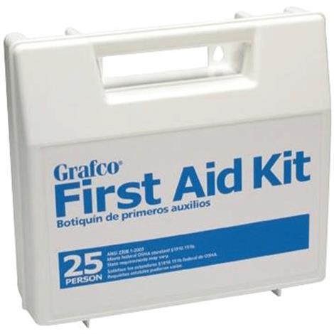 """Graham-Field Stocked First Aid Plastic Kit With Dividers For 25 Persons,9"""" x 8-3/8"""" x 2-1/2"""",Each,1799-25P"""