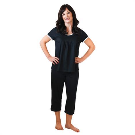 Cool-Jams Moisture Wicking Pleated T-Shirt Capri Set,Black,2X-Large,Each,T4363