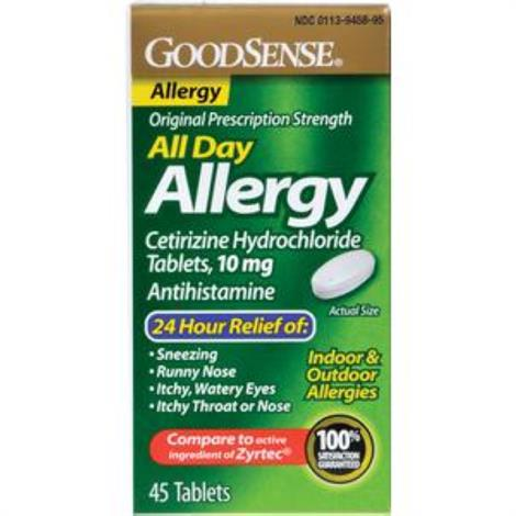 GoodSense All Day Cetirizine Hydrochloride Allergy Relief Tablet,45 Count, 10mg,45/Pack,LP14967