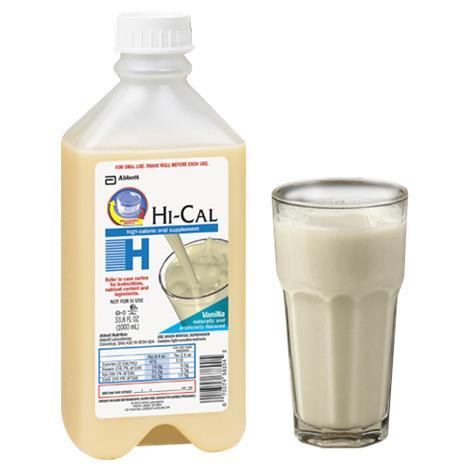 Abbott Hi-Cal Ready-To-Hang Oral ,1000ml (33.8fl oz),Vanilla,Bottle,8/Case,58253