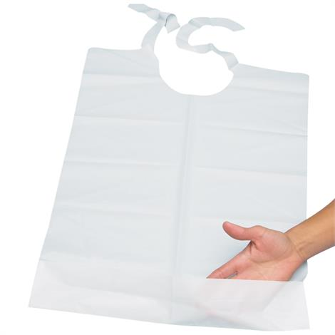 Disposable Plastic Bibs With Perforated Tie Backs And Handy Pocket,Disposable Plastic Bibs,500/Pack,NC35405