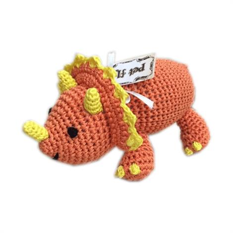 Mirage Knit Knacks Bop the Triceratops Organic Cotton Small Dog Toy,Bop the Triceratops Dog Toy,Each,500-111 BOP