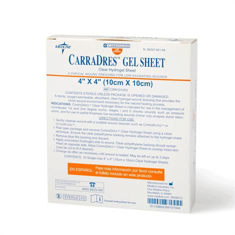 "Carrington CarraDres Clear Hydrogel Sheet,4"" x 4"" (10cm x 10cm),10/Pack,CRR101053Z"