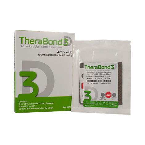 "Alliqua Biomedical TheraBond 3D Contact Dressing With SilverTrak Technology,4-1/4"" X 4-1/4""(10.5cm X 10.5cm),10/Pack,3DAC-44"