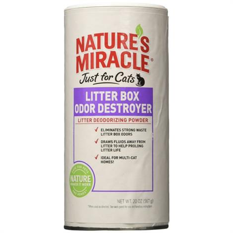 Natures Miracle Just For Cats Litter Box Odor Destroyer - Deodorizing Powder,20 oz,Each,NM-5857