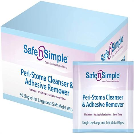 Safe N Simple Peri Stoma Cleanser And Adhesive Remover Wipes,Peri Stoma Wipes,50/Pack,SNS00550