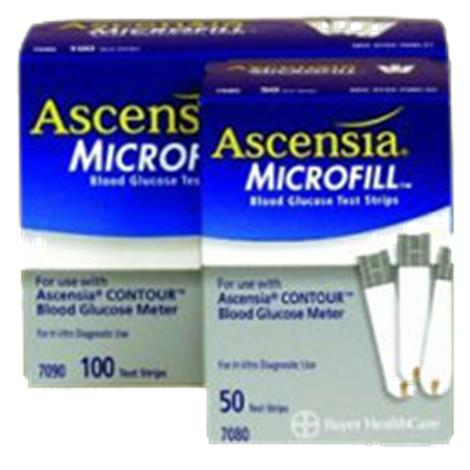 Bayer Ascensia Contour Microfill Test Strips,Test Strips,100/Pack,7090