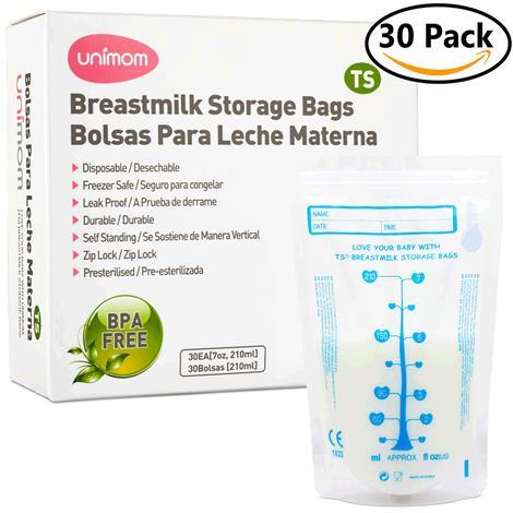 Unimom Standard Breast Milk Storage Bags,8 oz.,30/Pack,MB0001