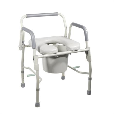 Drive Knock Down Deluxe Steel Drop Arm Commode with Padded Seat,Gray,Each,11125PSKD-1