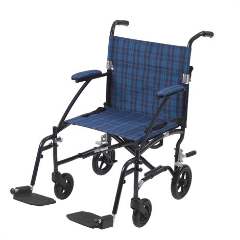 "Drive Fly-Lite Aluminum Transport Chair,Seat 19""W x 15.5""D,Black Frame and Black/Silver Plaid Upholstery,Each,DFL19-BLK"