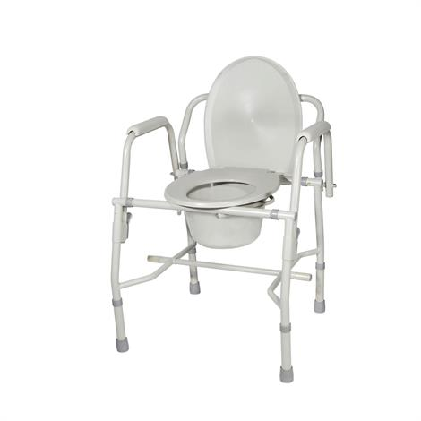 Drive Knock Down Deluxe Steel Drop Arm Tool Free Commode,Gray,Each,11125KD-1