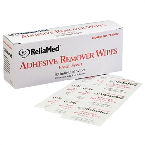 """ReliaMed Adhesive Remover Wipes,1-1/4"""" x 3"""",75/Pack,16Pk/Case,ZA30075"""