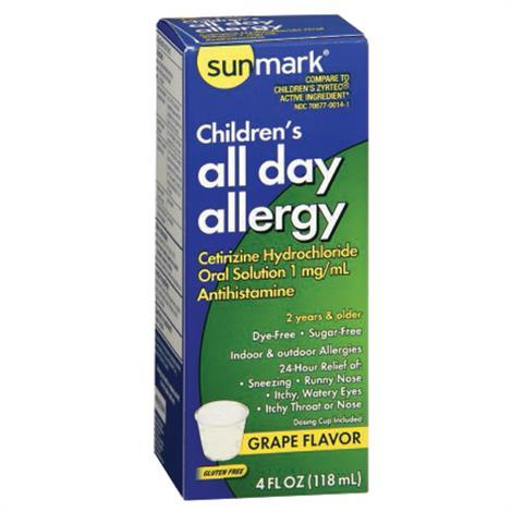 McKesson Sunmark Children Allergy Relief Syrup,4oz,Grape Flavor,Each,3579869